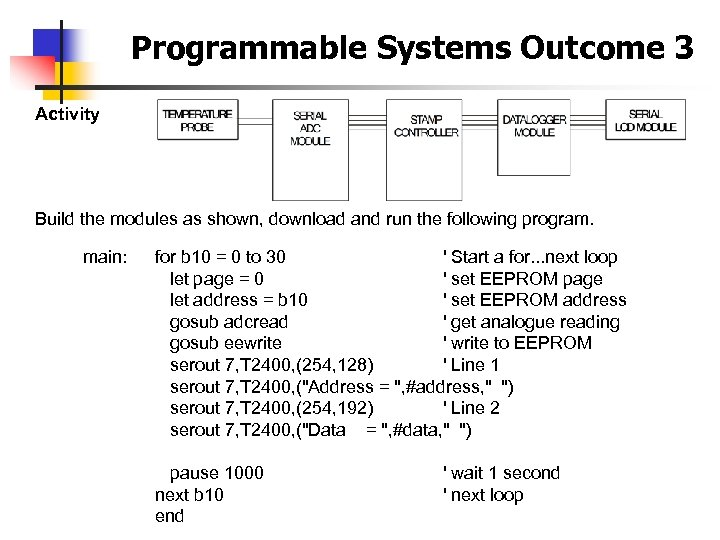 Programmable Systems Outcome 3 Activity Build the modules as shown, download and run the