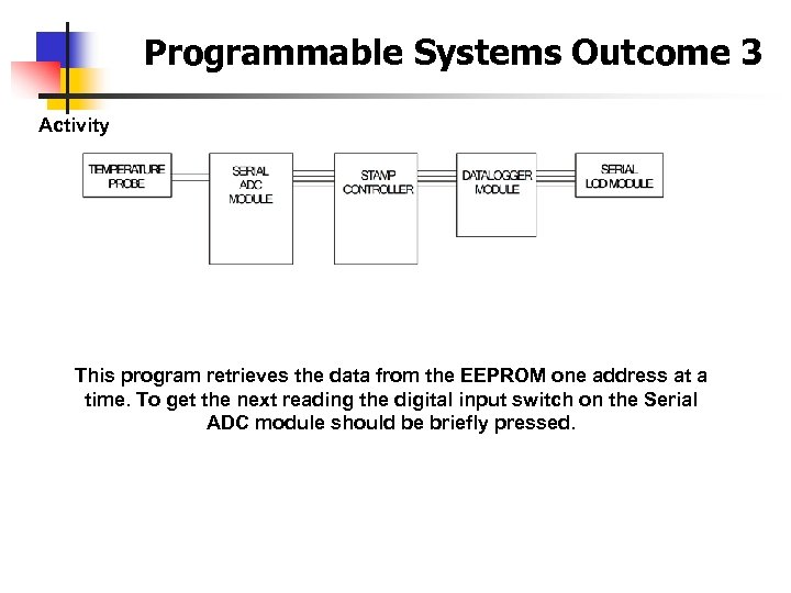 Programmable Systems Outcome 3 Activity This program retrieves the data from the EEPROM one