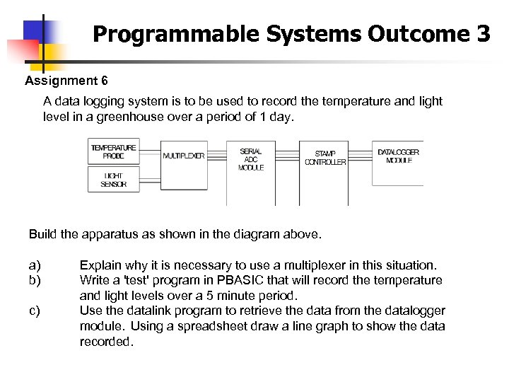 Programmable Systems Outcome 3 Assignment 6 A data logging system is to be used