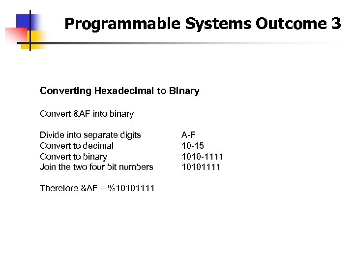 Programmable Systems Outcome 3 Converting Hexadecimal to Binary Convert &AF into binary Divide into