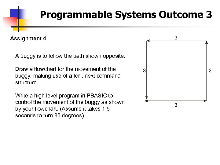 Programmable Systems Outcome 3 Assignment 4 A buggy is to follow the path shown