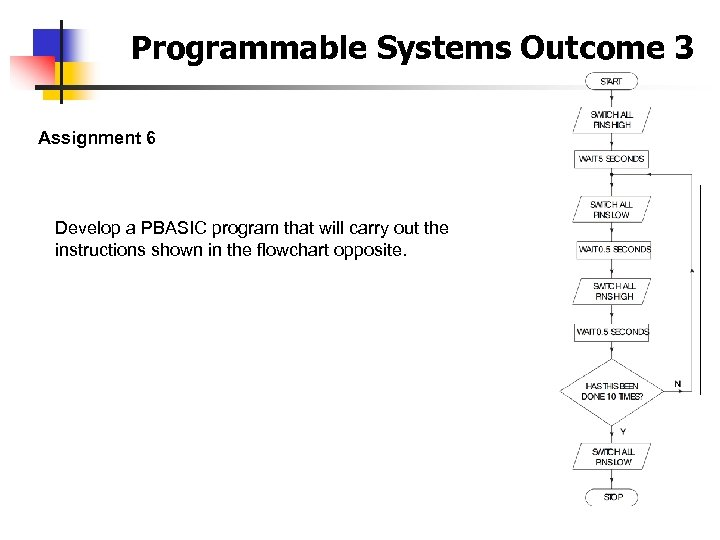 Programmable Systems Outcome 3 Assignment 6 Develop a PBASIC program that will carry out