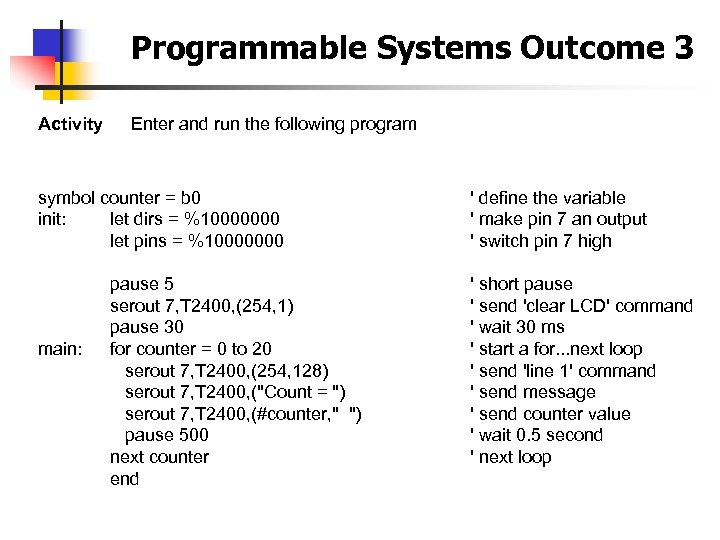 Programmable Systems Outcome 3 Activity Enter and run the following program symbol counter =