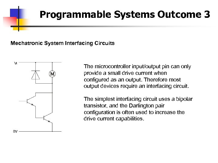 Programmable Systems Outcome 3 Mechatronic System Interfacing Circuits The microcontroller input/output pin can only