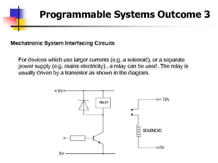 Programmable Systems Outcome 3 Mechatronic System Interfacing Circuits For devices which use larger currents