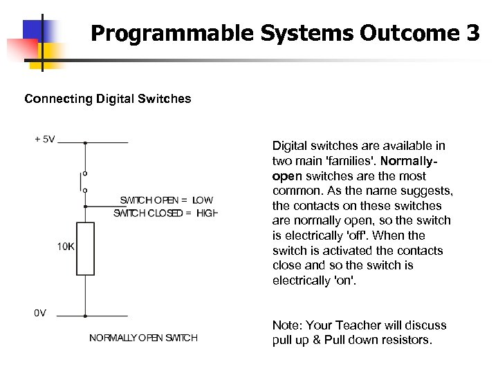 Programmable Systems Outcome 3 Connecting Digital Switches Digital switches are available in two main