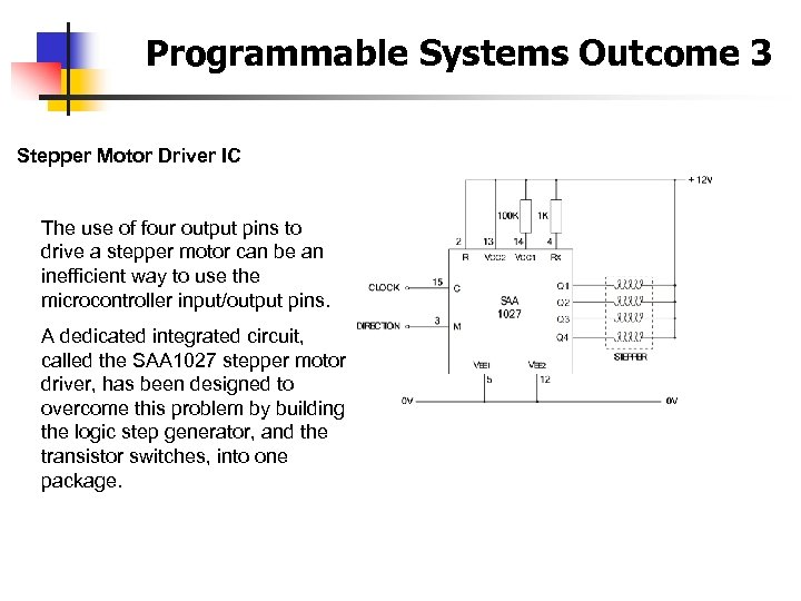 Programmable Systems Outcome 3 Stepper Motor Driver IC The use of four output pins