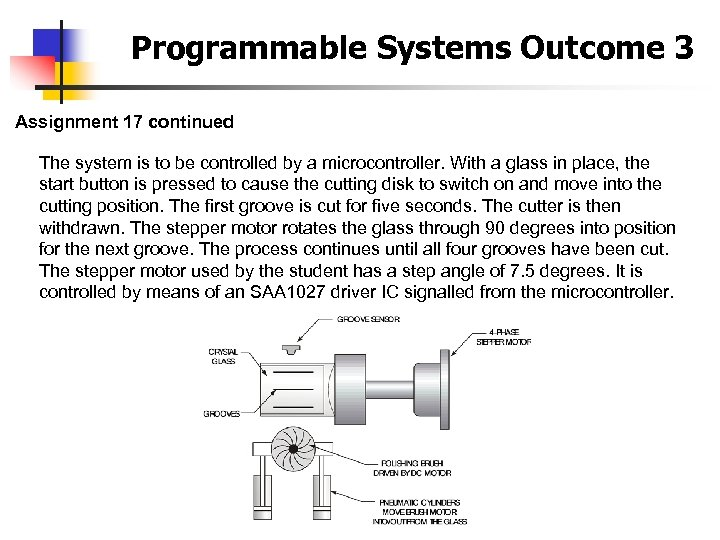 Programmable Systems Outcome 3 Assignment 17 continued The system is to be controlled by