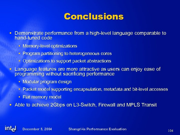 Conclusions Demonstrate performance from a high-level language comparable to hand-tuned code Memory-level optimizations Program