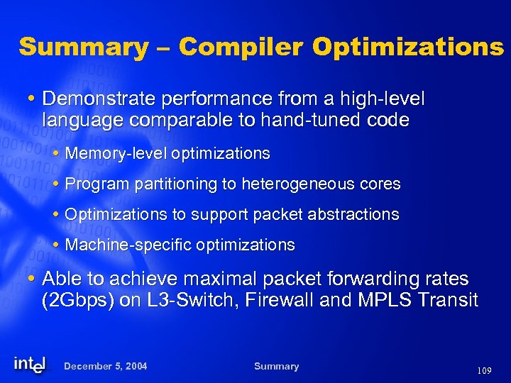 Summary – Compiler Optimizations Demonstrate performance from a high-level language comparable to hand-tuned code