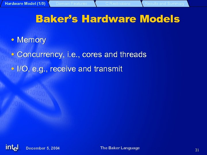 Hardware Model (1/5) Domain Features C Restrictions Results and Summary Baker's Hardware Models Memory