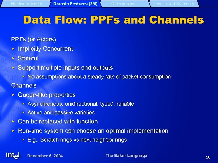 Hardware Model Domain Features (3/5) C Restrictions Results and Summary Data Flow: PPFs and