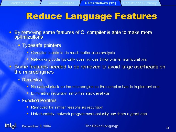 Hardware Model Domain Features C Restrictions (1/1) Results and Summary Reduce Language Features By