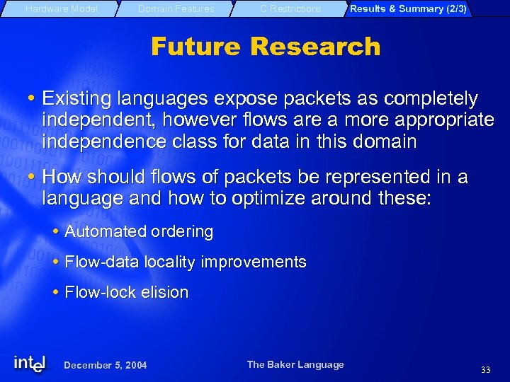 Hardware Model Domain Features C Restrictions Results & Summary (2/3) Future Research Existing languages