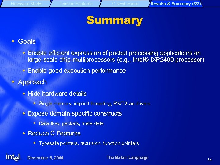 Hardware Model Domain Features C Restrictions Results & Summary (3/3) Summary Goals Enable efficient