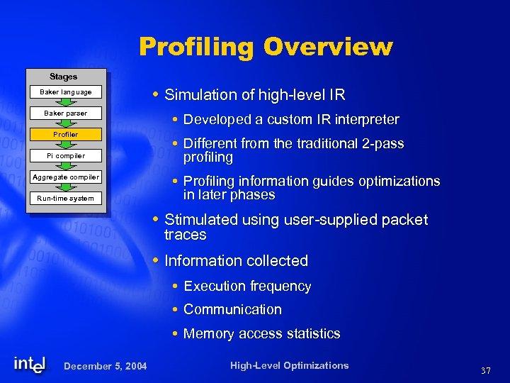 Profiling Overview Stages Baker language Baker parser Profiler Pi compiler Aggregate compiler Run-time system