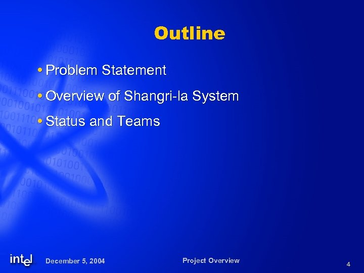 Outline Problem Statement Overview of Shangri-la System Status and Teams December 5, 2004 Project