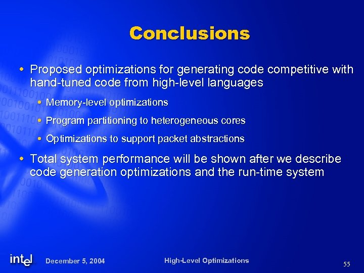 Conclusions Proposed optimizations for generating code competitive with hand-tuned code from high-level languages Memory-level