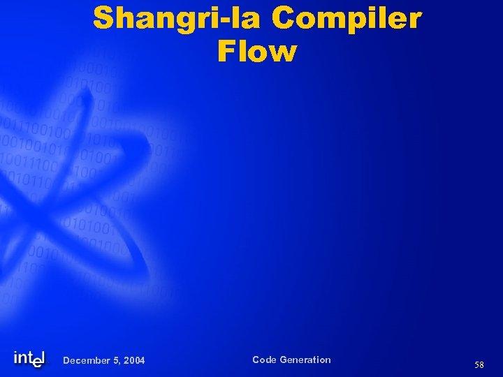Shangri-la Compiler Flow December 5, 2004 Code Generation 58