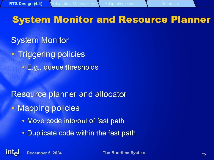 RTS Design (4/4) Adaptation Mechanisms Adaptation Results Summary System Monitor and Resource Planner System