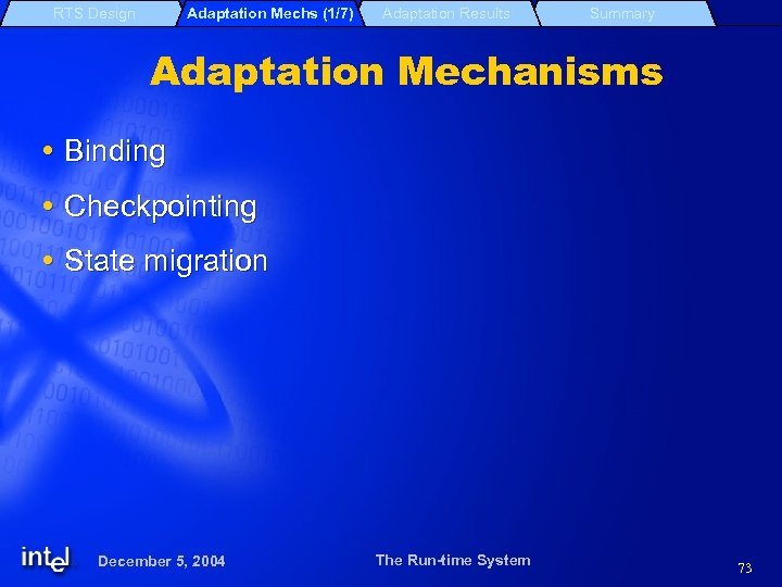 RTS Design Adaptation Mechs (1/7) Adaptation Results Summary Adaptation Mechanisms Binding Checkpointing State migration