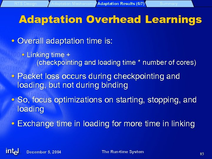 RTS Design Adaptation Mechanisms Adaptation Results (6/7) Summary Adaptation Overhead Learnings Overall adaptation time