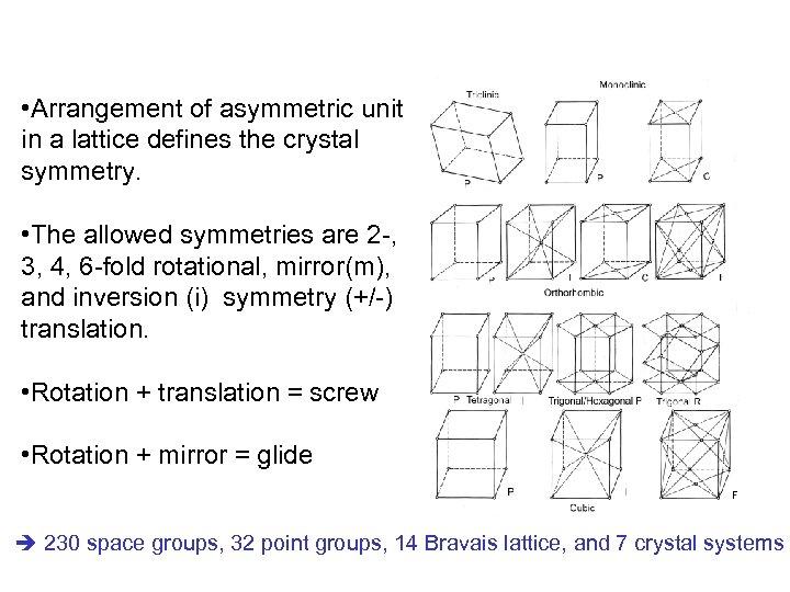 • Arrangement of asymmetric unit in a lattice defines the crystal symmetry. •
