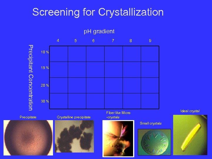 Screening for Crystallization p. H gradient 4 Precipitant Concentration Precipitate 5 6 7 8