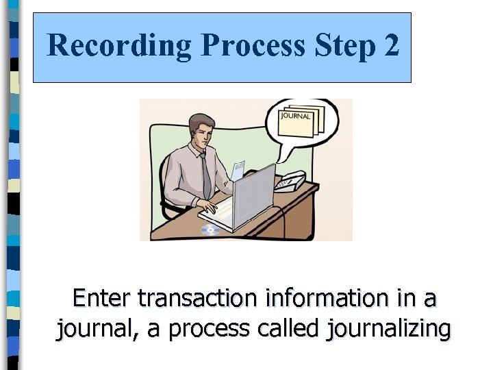 Recording Process Step 2 Enter transaction information in a journal, a process called journalizing