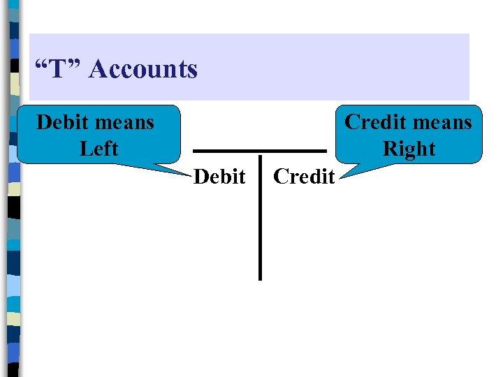 """""""T"""" Accounts Debit means Left Credit means Right Debit Credit"""