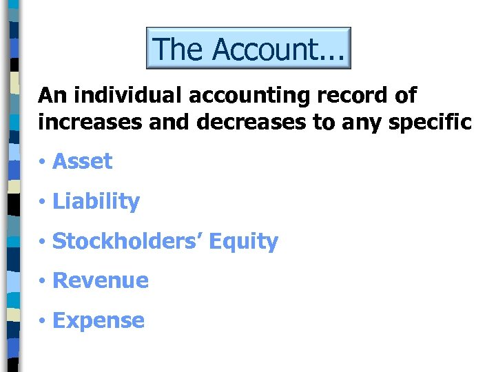 The Account. . . An individual accounting record of increases and decreases to any
