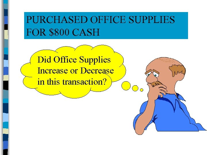 PURCHASED OFFICE SUPPLIES FOR $800 CASH Did Office Supplies Increase or Decrease in this