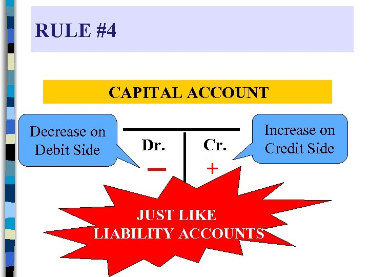 RULE #4 CAPITAL ACCOUNT Decrease on Debit Side Dr. Cr. + JUST LIKE LIABILITY