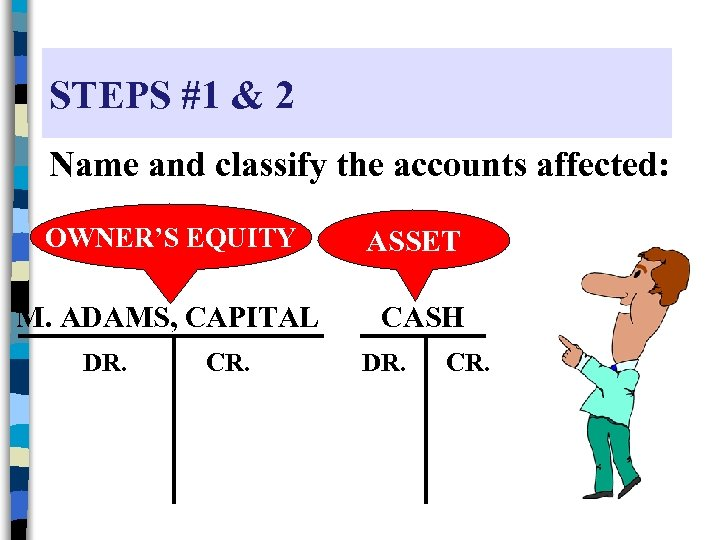 STEPS #1 & 2 Name and classify the accounts affected: OWNER'S EQUITY M. ADAMS,