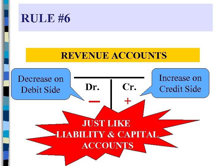 RULE #6 REVENUE ACCOUNTS Decrease on Debit Side Dr. Cr. + JUST LIKE LIABILITY