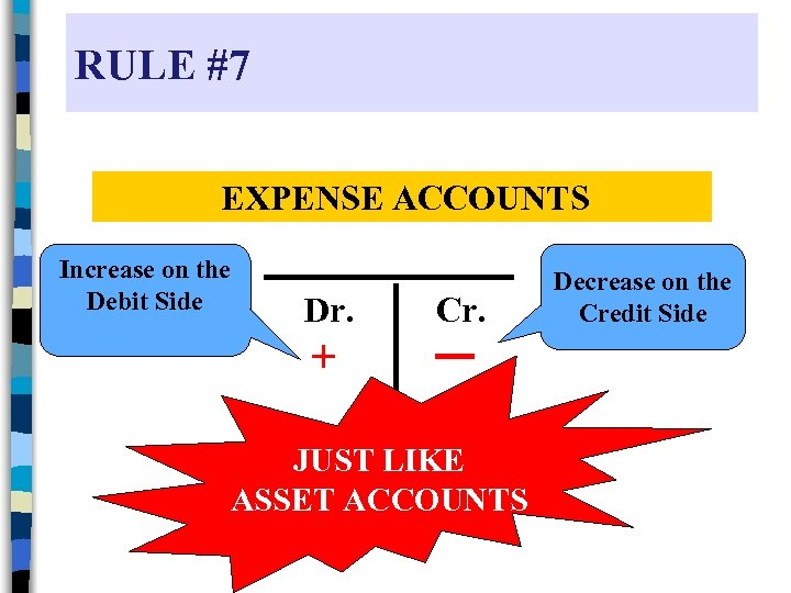 RULE #7 EXPENSE ACCOUNTS Increase on the Debit Side Dr. Cr. + JUST LIKE