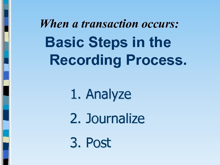 When a transaction occurs: Basic Steps in the Recording Process. 1. Analyze 2. Journalize