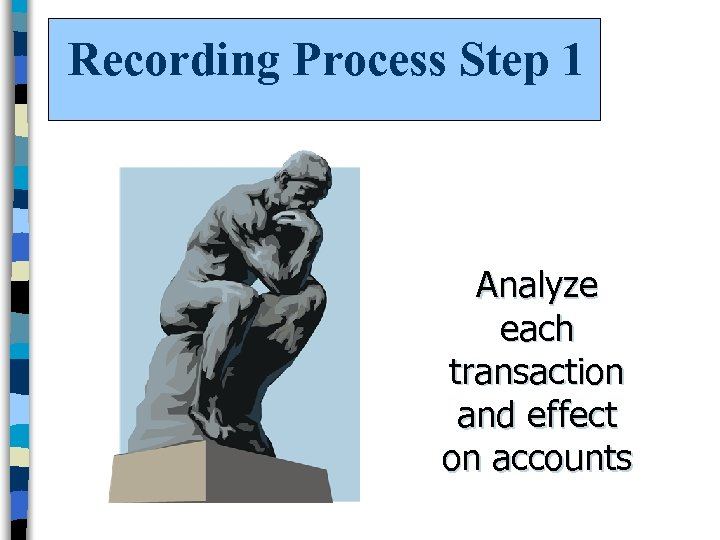 Recording Process Step 1 Analyze each transaction and effect on accounts