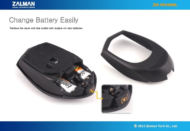 ZM-M 500 WL Change Battery Easily Remove the cover with one button and replace