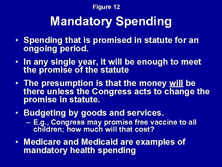 Figure 12 Mandatory Spending • Spending that is promised in statute for an ongoing