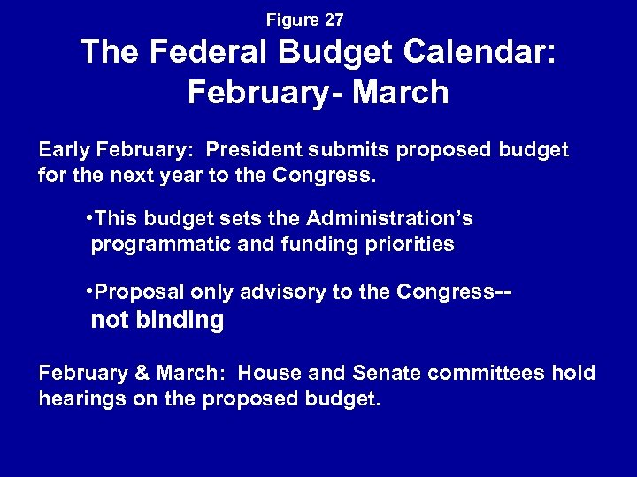 Figure 27 The Federal Budget Calendar: February- March Early February: President submits proposed budget
