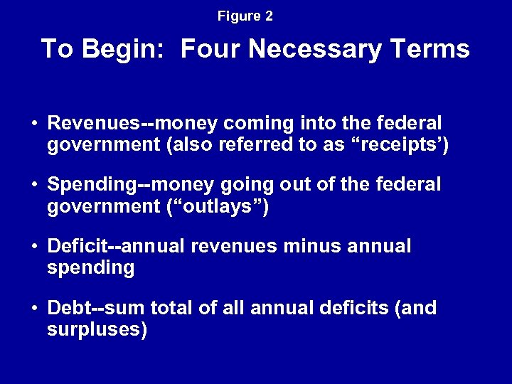 Figure 2 To Begin: Four Necessary Terms • Revenues--money coming into the federal government