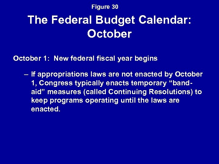 Figure 30 The Federal Budget Calendar: October 1: New federal fiscal year begins –