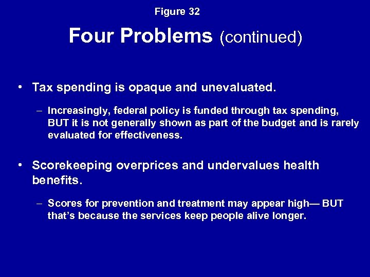 Figure 32 Four Problems (continued) • Tax spending is opaque and unevaluated. – Increasingly,