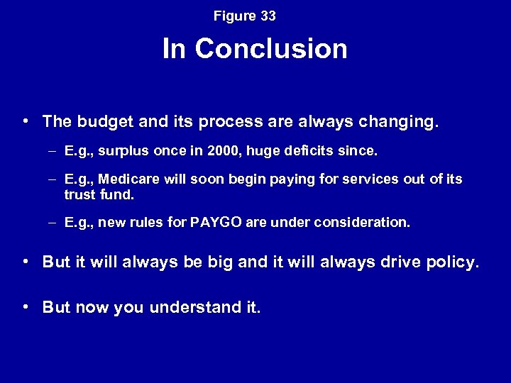 Figure 33 In Conclusion • The budget and its process are always changing. –