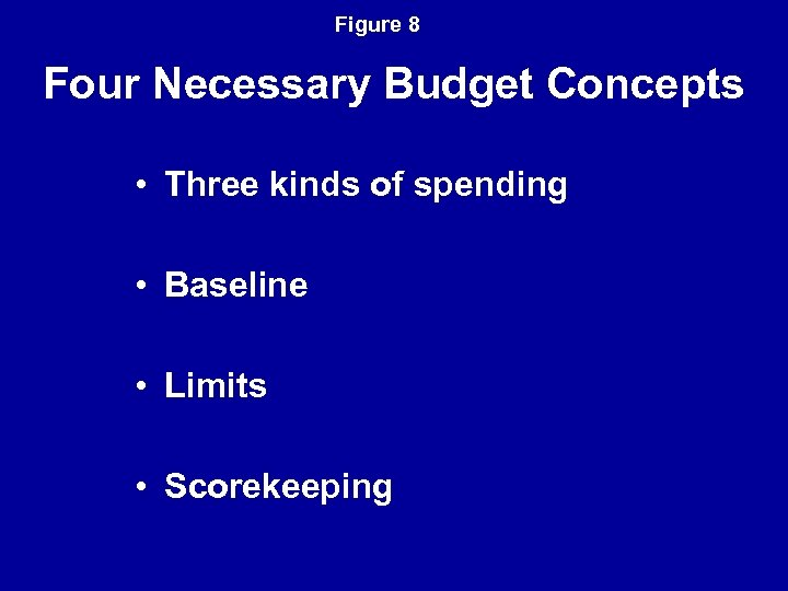 Figure 8 Four Necessary Budget Concepts • Three kinds of spending • Baseline •