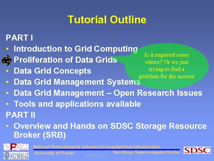 Tutorial Outline PART I • Introduction to Grid Computing Is it required some •