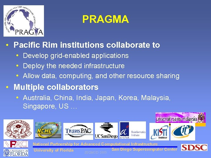 PRAGMA • Pacific Rim institutions collaborate to • Develop grid-enabled applications • Deploy the