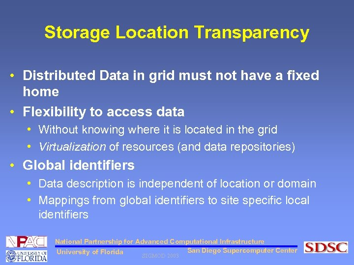 Storage Location Transparency • Distributed Data in grid must not have a fixed home