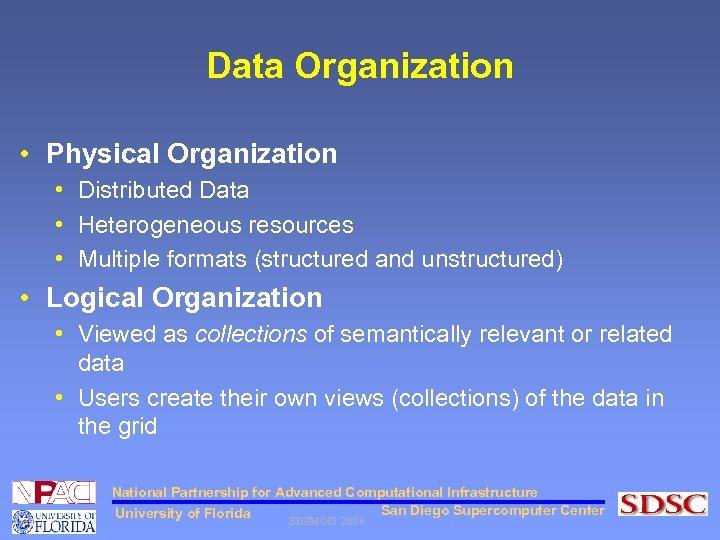 Data Organization • Physical Organization • Distributed Data • Heterogeneous resources • Multiple formats